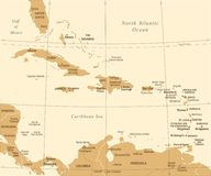 The Caribbean Map - Vintage Vector Illustration. The Caribbean Map - Vintage Detailed Vector Illustration Royalty Free Stock Photos