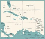 The Caribbean Map - Vintage Vector Illustration. The Caribbean Map - Vintage Detailed Vector Illustration Stock Images