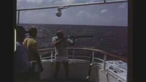 Skeet Shooting On A Cruise Ship stock video footage