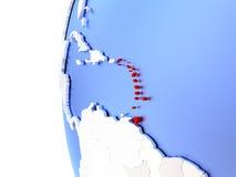 Caribbean on metallic globe. Map of Caribbean on elegant metallic globe. 3D illustration Royalty Free Stock Images