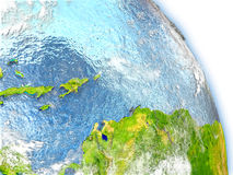 Caribbean on model of Earth. Caribbeanin red color on model of Earth. 3D  illustration with detailed planet surface, clouds and reflective ocean waters. Elements Stock Image