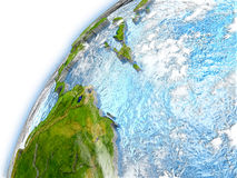 Caribbean on model of planet Earth Royalty Free Stock Images