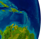Caribbean on model of planet Earth. Caribbean highlighted in red on detailed model of planet Earth. 3D illustration. Elements of this image furnished by NASA Royalty Free Stock Images