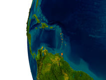 Caribbean on model of planet Earth. Caribbean highlighted in red on detailed model of planet Earth. 3D illustration. Elements of this image furnished by NASA Stock Photography