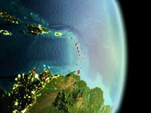 Caribbean in morning from orbit. Early morning view of Caribbean highlighted in red on planet Earth. 3D illustration. Elements of this image furnished by NASA stock images