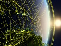 Caribbean on networked planet Earth. Caribbean in sunrise on planet planet Earth with network. Concept of connectivity, travel and communication. 3D illustration stock image