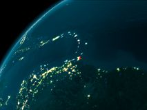 Caribbean at night on Earth. Night map of Caribbean as seen from space on planet Earth. 3D illustration Stock Image