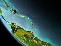 Caribbean at night on Earth. Caribbean from orbit of planet Earth at night with highly detailed surface textures with visible border lines and city lights. 3D Stock Images