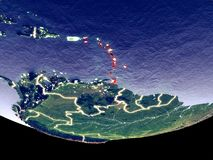 Caribbean at night from space royalty free stock images