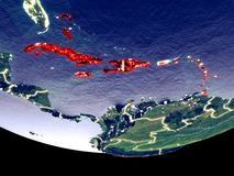 Caribbean at night from space stock illustration