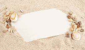 Caribbean note. Blank note in Caribbean sand and seashells stock image