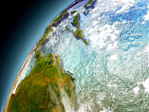 Caribbean from orbit of model Earth Royalty Free Stock Photo