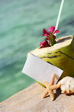 Caribbean paradise beach coconuts cocktail Stock Images