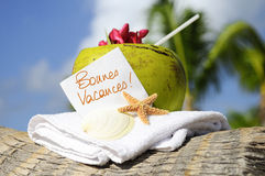 Caribbean paradise beach coconuts cocktail Royalty Free Stock Images