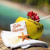 Caribbean paradise beach coconuts cocktail Stock Photography