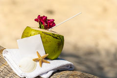 Caribbean paradise beach coconuts cocktail Stock Photo