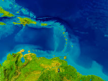 Caribbean on physical map. Caribbean highlighted in red on physical map. 3D illustration. Elements of this image furnished by NASA Royalty Free Stock Images