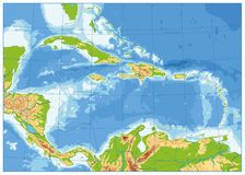 The Caribbean Physical Map. No text. Highly detailed vector illustration Royalty Free Stock Photography