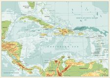 The Caribbean Physical Map. Retro colors. Highly detailed vector illustration Stock Image
