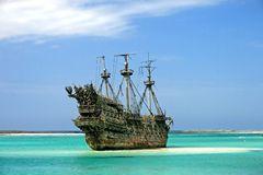 Caribbean Pirate Ship. A replica of an old ship in the Caribbean Stock Photography
