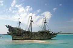 Caribbean Pirate Ship. A replica of an old ship in the Caribbean Stock Photo