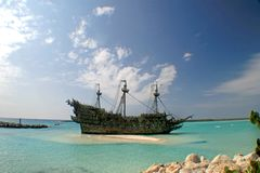 Caribbean Pirate Ship. A replica of an old ship in the Caribbean Royalty Free Stock Image