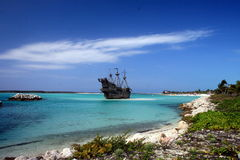 Caribbean Pirate Ship stock image