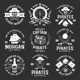 Caribbean Pirates Monochrome Emblems Stock Photo