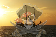 Caribbean pirates. A pirate vessel in the caribbean sea stock photos