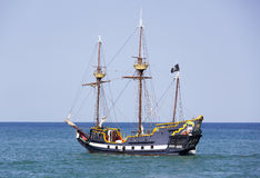Caribbean Pirates. The replica of a pirate ship drifting near Cozumel island (Mexico Stock Image