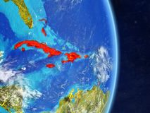 Caribbean on planet Earth vector illustration