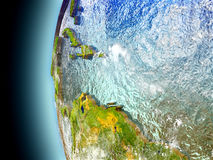 Caribbean on planet Earth from space. Caribbean on model of Earth with watery oceans and realistic clouds in the atmosphere. 3D illustration with detailed planet Royalty Free Stock Photos