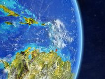 Caribbean on planet planet Earth with country borders. Extremely detailed planet surface and clouds. 3D illustration. Elements of. This image furnished by NASA stock illustration