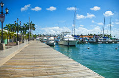 Caribbean port. Nice views of Aruba port Stock Images