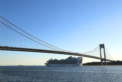 Caribbean Princess Cruise Ship under Verrazano Bridge in New York harbor Royalty Free Stock Photo