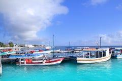 Caribbean Puerto Juarez boat pier turquoise sea Stock Photography