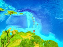 Caribbean in red on Earth. Caribbean highlighted in red on planet Earth. 3D illustration. Elements of this image furnished by NASA Royalty Free Stock Photos