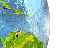 Caribbean in red on Earth. Caribbean in red with surrounding region. 3D illustration with highly detailed realistic planet surface. Elements of this image Stock Photo