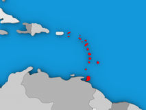 Caribbean in red on globe. Map of Caribbean on globe highlighted in red. 3D illustration Stock Photos