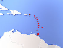 Caribbean in red on map. Map of Caribbean highlighted in red on simple shiny metallic map with clear country borders. 3D illustration Royalty Free Stock Photos