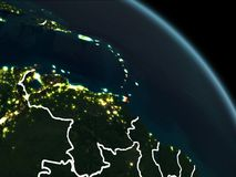 Caribbean in red at night. Caribbean from orbit of planet Earth at night with visible borderlines and city lights. 3D illustration. Elements of this image Stock Photo