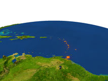 Caribbean in red from orbit. Caribbean from Earth's orbit in space highlighted in red color. 3D illustration with highly detailed realistic planet surface Royalty Free Stock Image