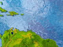 Map of Caribbean. Caribbean in red on realistic map with embossed countries. 3D illustration. Elements of this image furnished by NASA Royalty Free Stock Photos