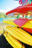 Caribbean Rentals. Colorful collection of kayaks and other sports equipment for rent on the island of St. John, US Virgin Islands Royalty Free Stock Photo