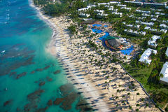 Caribbean resort on beach from helicopter view Stock Image