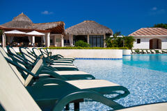 Caribbean resort with swimming pool Royalty Free Stock Photo