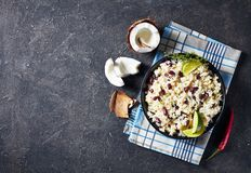 Caribbean Rice and Red Beans , top view. Caribbean Rice and Red Beans cooked with coconut milk seasoned with garlic, onions and creole spice in a bowl, view from stock images