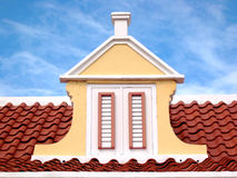 Caribbean Roof Top. Detail of an old Aruban house downtown Oranjestad, Aruba Stock Images