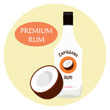 Caribbean rum with coconut flavour in white bottle for alcohol. Alcohol drink in flat vector style Stock Image
