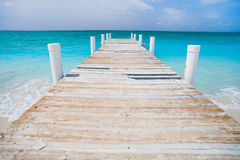 Caribbean sea. Jetty on Providenciales island in Turks and Caicos Royalty Free Stock Image